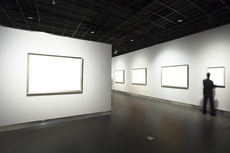 paintings art: frames on white wall in art museum