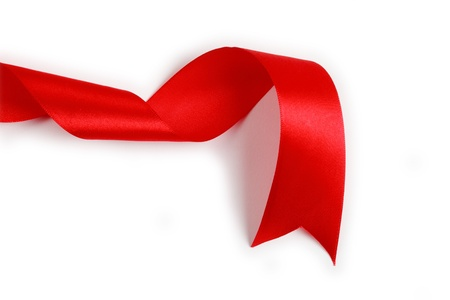 shimmery: Shiny red satin ribbon on white background Stock Photo