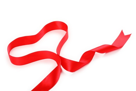 shimmery: Shiny red satin ribbon with heart shape on white background