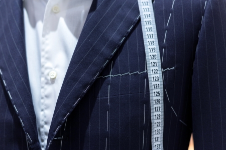tailored: Suits on shop mannequins Stock Photo