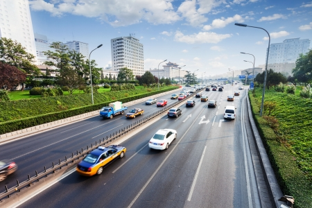 time drive: civil traffic in city Stock Photo
