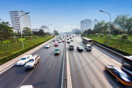 highway: civil traffic in city Stock Photo