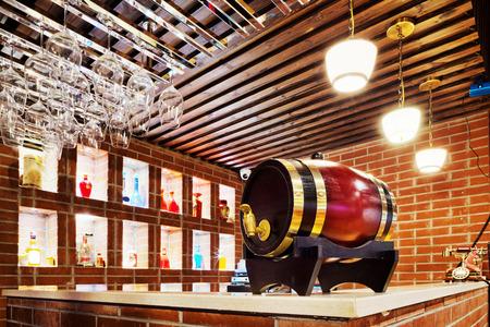 oak barrel: Classic bar counter with wine oak barrel Editorial
