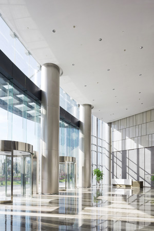 modern office interior: empty hall in the modern office building