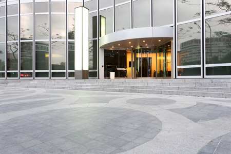 architectural exterior: entrance of modern office building