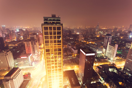 city skyline at night photo