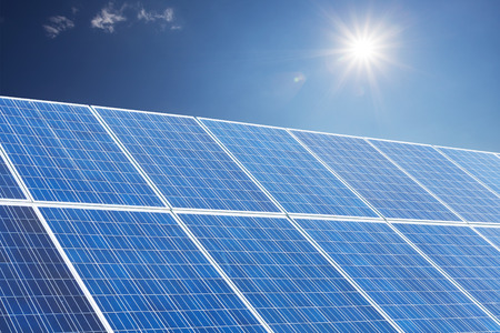 Solar panel produces green,environmentally friendly energy from the sun.  photo