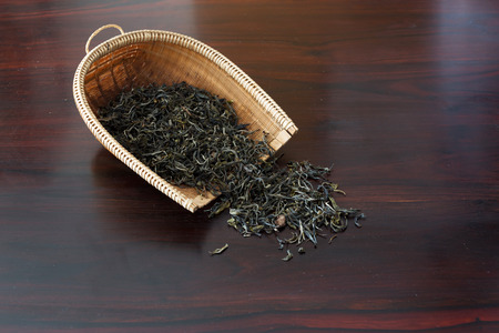 Black tea with wooden table