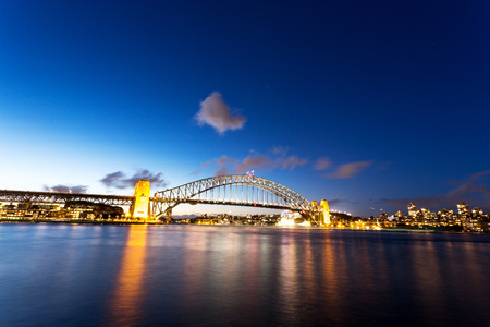 nightfall: cityscape of sydney at nightfall Editorial