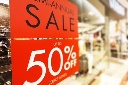 window display: store discount sign