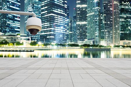 prosperous: CCTV with prosperous cityscape background
