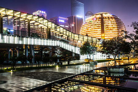 building exterior: modern business urban cityscape at night
