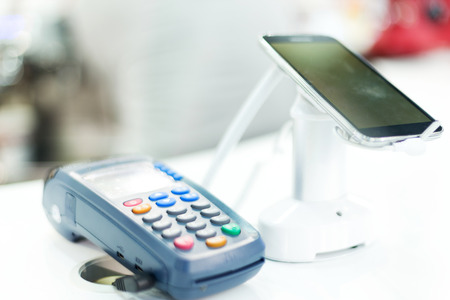 pos: POS machine for credit card in technical exhibition