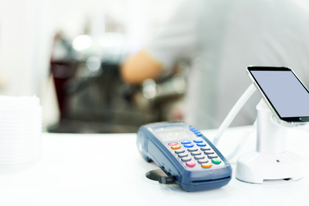 cashless: POS machine for credit card in technical exhibition