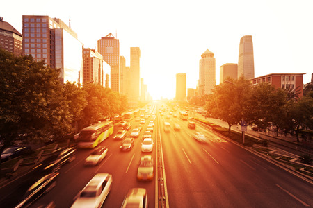 road vehicle: cityscape and traffic trails of Beijing during sunset,china Stock Photo