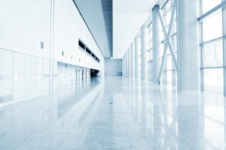 futuristic interior: modern office building hall interior of urban city