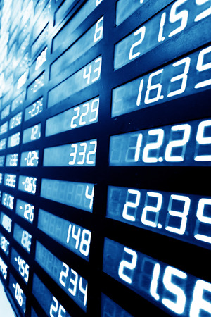 money market: stock or currency exchange market display screen board Stock Photo