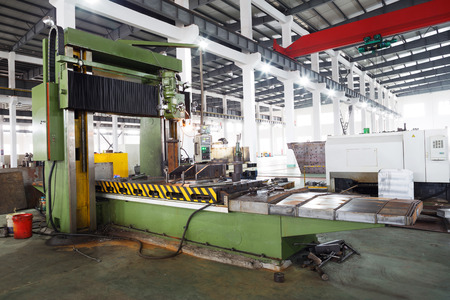 assembly line: modern mechanism factory interior