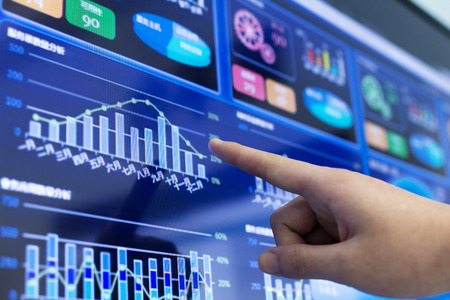 Cash Flow: clicking and analysis  business financial report Stock Photo