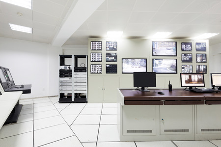 control panel: surveillance control room interior