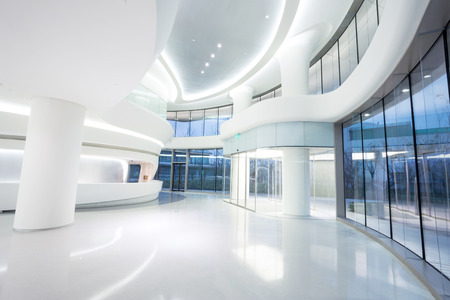 light interior: futuristic modern office building interior in urban city
