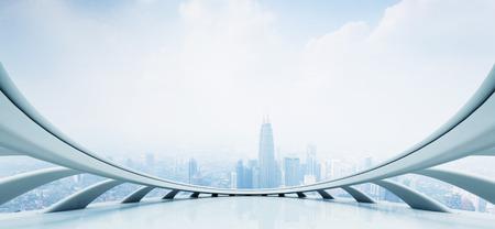 futuristic interior: modern skyscraper looking from futuristic style window Editorial