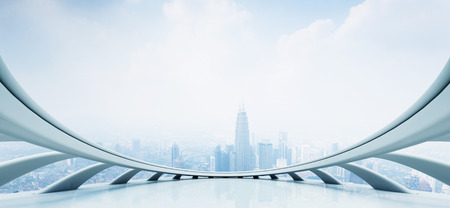 futuristic: modern skyscraper looking from futuristic style window Editorial
