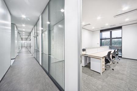 modern office room and corridor interior