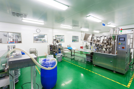factory line: pharmaceutical factory workshop interior