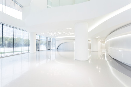 architecture and buildings: futuristic modern office building interior in urban city