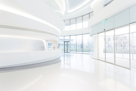 bank interior: futuristic modern office building interior in urban city