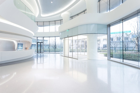 hall: futuristic modern office building interior in urban city
