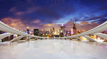 cityscape: futuristic business perspective and cityscape at night