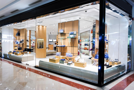 boutiques: handbag retail fasion store and showcase.