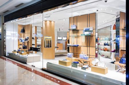 designer bag: handbag retail fasion store and showcase.