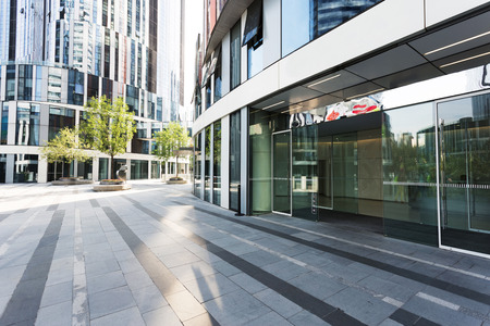 buildings city: modern building facade in urban city Editorial