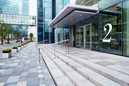 entrance: modern office  building facade in urban city Stock Photo