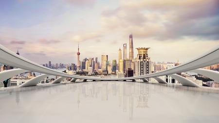 Shangha, 중국에서 현대 도시의 스카이 라인, 교통 및 도시