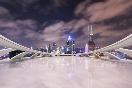 futuristic city: modern city skyline,traffic and cityscape in Shangha,China