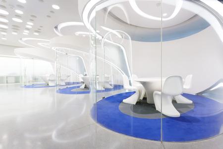 futuristic interior: modern futuristic concept office interior