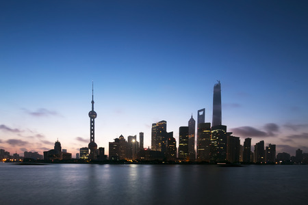 huangpu: skyline and landscape of modern city,shanghai.View from riverbank of Huangpu river.