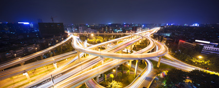 skyline and traffic,flyover in modern city. photo