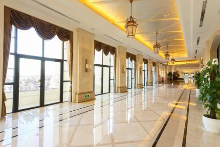lobby design: modern hotel interior and corridor