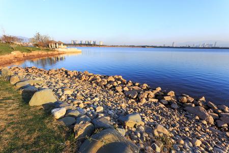 suburb: skyline and lake near resort in suburb.
