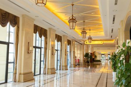 hotel building: modern hotel interior and corridor
