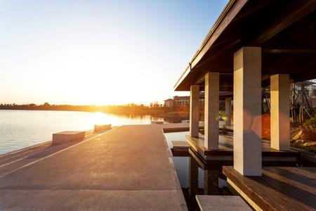 sunset at lakeside near resort Stock Photo