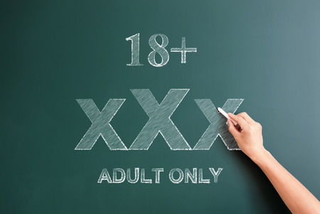 only adult: 18 plus adult only written on blackboard