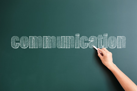 written communication: communication written on blackboard Stock Photo