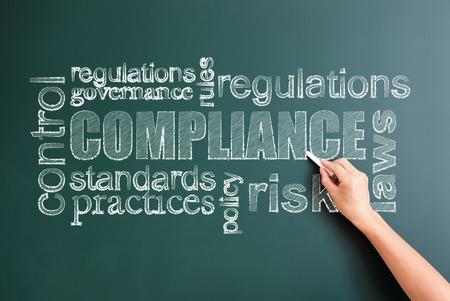 compliance written on blackboard Stock Photo