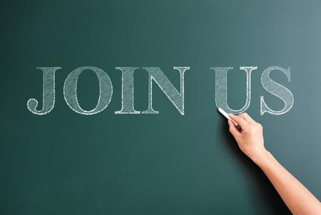 join us written on blackboard photo